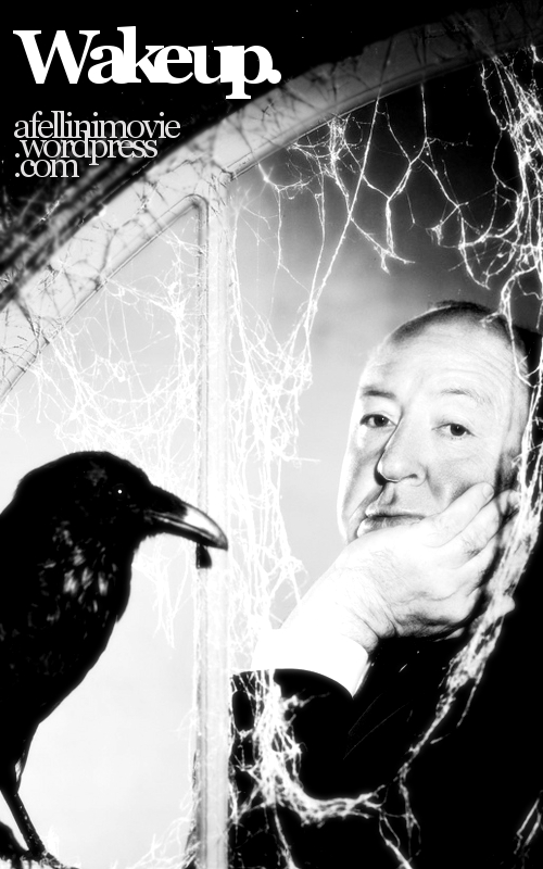 This weblog's campaigning poster, using a publicity pic of legendary director Alfred Hitchcock.